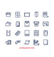 line icons of print design products from pamphlet vector image vector image