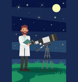 man astronomer in white lab coat standing near vector image vector image