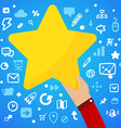 Mans hand holding a large yellow star on a blue vector image vector image