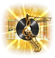 music in flash treble clef vinyl sax and trumpet vector image vector image
