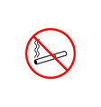 no smoking line icon prohibition sign forbidde vector image