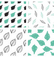 patterns with green and black leaves vector image vector image
