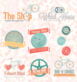 Retro Bike Shop Labels and Icons vector image