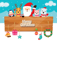 Santa Claus Animals Ornaments With Wood Banner vector image