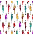 seamless pattern women in fashionable clothes vector image