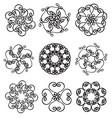 set circle ornates snowflakes vector image vector image