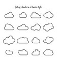set clouds in a linear style cloud in line or vector image vector image