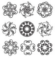 set of circle ornates snowflakes vector image vector image
