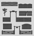 set of wooden fences with gates vector image vector image