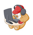 sitting kitty playing in computer game infantile vector image vector image