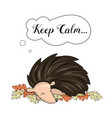 sleeping hedgehog animal vector image vector image