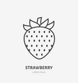 strawberry flat line icon sweet berry sign vector image vector image