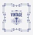 swirl art deco square frame with vintage emblem vector image