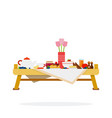 table with desserts and tea flat material design vector image