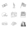 usa country set icons in outline style big vector image vector image