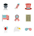 usa patriotic holiday icon set flat style vector image vector image