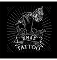 Vintage Christmas Skull tattoo vector image vector image