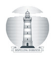 vintage hand drawn lighthouse emblem vector image vector image