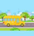 yellow funny school bus for vector image vector image