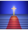 Stairway with red carpet leads to cross standing vector image