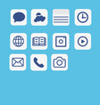icons application set multimedia icon set on blue vector image
