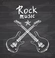 Rock Music Hand drawn sketch crossed guitars on vector image