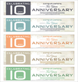 10 years Anniversary retro banner set vector image vector image