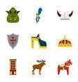 sweden travel icons set flat style