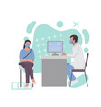 a woman at a doctor appointment fashion vector image vector image