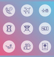 airport icons line style set with lounge plane vector image vector image
