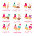 birthday card set festive sweet numbers from 41 vector image vector image