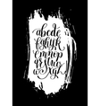 black and white hand lettering alphabet design on vector image vector image