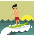 Businessman on vacation riding a surfboard vector image vector image