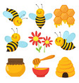 cartoon bee cute bees flowers and honey vector image vector image