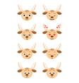 cartoon deer emotions set vector image vector image