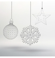 Christmas decoration ball star and snowflake vector image vector image