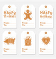 christmas vintage gift tags set with gingerbread vector image vector image