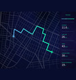 city map with route and data interface for vector image