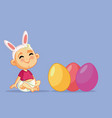 cute bacelebrating easter cartoon vector image