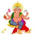 diwali holiday and ganesha god with elephant head vector image