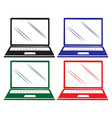 Four colourful laptops