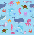 funny sea animals underwater sea life seamless vector image vector image
