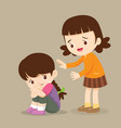 girl comforting her crying friend so sad vector image vector image