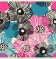 hand drawn flowers background in retro blue black vector image vector image