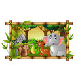 happy animals in frame forest vector image