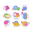 hello logo templates set bright badges hello vector image