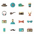 Hipster Icon Flat Set vector image