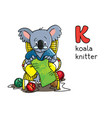 koala bear knitter profession abc alphabet k vector image vector image