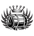 monochrome with cask wings and crown vector image vector image