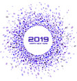 new year 2019 card christmas violet circle frame vector image vector image